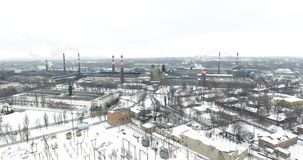 Aerial view: Air pollution from industrial plants. Pipes of a dirty factory emit smoke into the sky and atmosphere. Cause of globa. L warming stock video footage