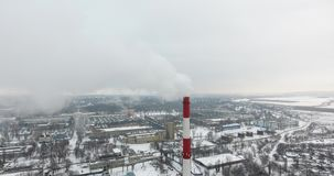 Aerial view: Air pollution from industrial plants. Pipes of a dirty factory emit smoke into the sky and atmosphere. Cause of globa. L warming stock video
