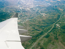 Aerial view from aircraft window. Royalty Free Stock Photo