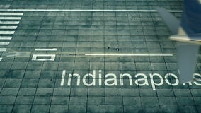 Aerial view of an airplane arriving to Indianapolis airport. Travel to United States 3D rendering Stock Images