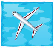 Aerial view of airplane flying over the sea Royalty Free Stock Photography