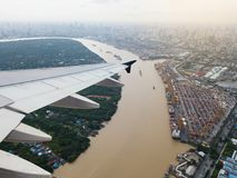 Aerial view from airplane of industrial port at Thailand Royalty Free Stock Images