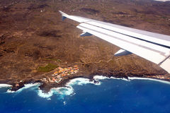 Aerial view from airplane of La Palma Royalty Free Stock Photos
