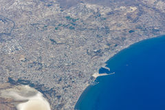 Aerial view from airplane of Larnaca, Cyprus Stock Photography