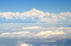 Aerial view from an airplane over the Himalayas and Everest moun Royalty Free Stock Photography