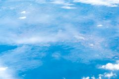 Aerial view of airplane window looking down to land ,Nature back Royalty Free Stock Image