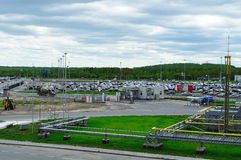 Aerial view of airport auto crowded parking lot in Pulkovo International airport in Saint-Petersburg, Russia. SAINT-PETERSBURG, RUSSIA - MAY 23, 2015. Aerial royalty free stock photography