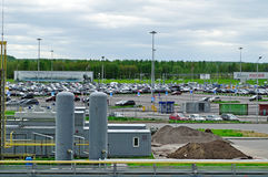 Aerial view of airport auto crowded parking lot in Pulkovo International airport in Saint-Petersburg, Russia Royalty Free Stock Photography