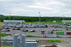 Aerial view of airport auto crowded parking lot in Pulkovo International airport in Saint-Petersburg, Russia. SAINT-PETERSBURG, RUSSIA - MAY 23, 2015. Aerial royalty free stock photos