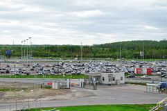 Aerial view of airport auto crowded parking lot in Pulkovo International airport in Saint-Petersburg, Russia Royalty Free Stock Image