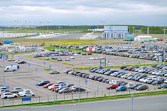 Aerial view of airport auto crowded parking lot in Pulkovo International airport in Saint-Petersburg, Russia. ST PETERSBURG, RUSSIA - MAY 11, 2016. Birds eye royalty free stock photos