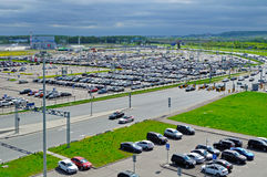 Aerial view of airport auto crowded parking lot in Pulkovo International airport in Saint-Petersburg, Russia. ST PETERSBURG, RUSSIA - MAY 11, 2016. Birds eye stock photo