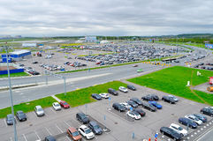 Aerial view of airport auto crowded parking lot in Pulkovo International airport in Saint-Petersburg, Russia. ST PETERSBURG, RUSSIA - MAY 11, 2016. Birds eye stock photos