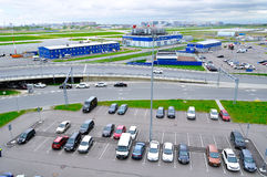 Aerial view of airport auto crowded parking lot in Pulkovo International airport in Saint-Petersburg, Russia. ST PETERSBURG, RUSSIA - MAY 11, 2016. Birds eye royalty free stock image