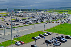 Aerial view of airport auto crowded parking lot in Pulkovo International airport in Saint Petersburg, Russia. ST PETERSBURG, RUSSIA - MAY 11, 2016. Birds eye stock images