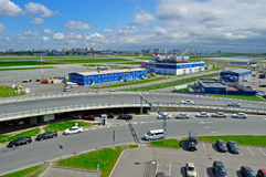 Aerial view of airport auto crowded parking lot in Pulkovo International airport in Saint Petersburg, Russia. ST PETERSBURG, RUSSIA - MAY 11, 2016. View from stock photography