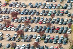 Aerial view of airport car crowded parking lot.  royalty free stock photography