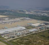 Aerial view of the airport stock photography