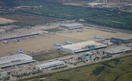 Aerial view of the airport royalty free stock photos