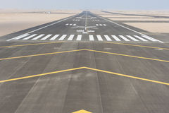 Aerial view of an airport runway. Aerial panoramic view of a commercial airport runway with connections and taxiways Royalty Free Stock Photos
