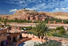 Ksar kasbah Ait Ben Haddou, Morocco. Aerial view of Ait-Ben-Haddou which is the most famous ksar in the Ounila Valley, Morocco Unesco world heritage site Souss royalty free stock images