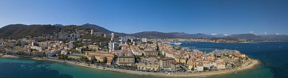 Aerial view of Ajaccio, Corsica, France. The harbor area and city center seen from the sea. Harbor boats and houses Stock Images