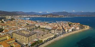 Aerial view of Ajaccio, Corsica, France. The harbor area and city center seen from the sea. Harbor boats and houses Royalty Free Stock Image