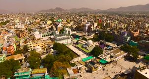 Aerial view of ajmir in india. Helicam shot stock footage