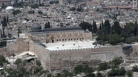 Aerial view of Al Aqsa mosque on temple mount in Jerusalem, Israel stock footage
