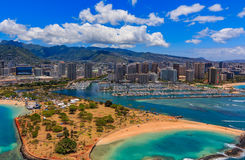 Aerial view of Ala Moana Beach Park in Honolulu Hawaii. From a helicopter Royalty Free Stock Images