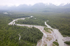 Aerial view of alaskan wilderness Royalty Free Stock Photos