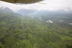 Aerial view of alaskan wilderness. From a small airplane Royalty Free Stock Image