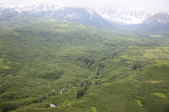 Aerial view of alaskan wilderness. From a small airplane Stock Photo