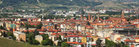 Aerial view on Alba. Piedmont, Italy. Royalty Free Stock Images