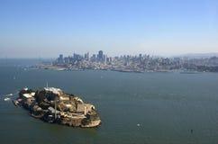 Aerial view of Alcatraz, Bay B. An aerial view of Alcatraz, Bay Bridge and San Francisco skyline Royalty Free Stock Photo