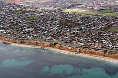 Aerial view of Aldinga Beach, Adelaide, Australia. Showing the Beach, the Cliffs, the Coastal Road, along with the residential area of Aldinga itself Royalty Free Stock Photo