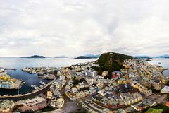Aerial view of Alesund, Norway during the rainy day. Cloudy sky stock photos