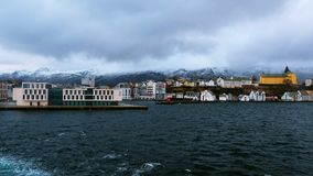 Aerial view of Alesund, Norway during the winter stock video footage