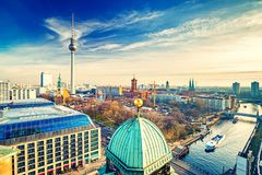 Aerial view on Berlin. Aerial view on Alexanderplatz and Spree river, Berlin, Germany Stock Photo