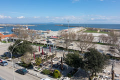 Aerial view of Alexandroupolis. ALEXANDROUPOLIS, GREECE - MAR 31, 2015: Aerial view of Alexandroupolis city port, located in the northest part of Greece Royalty Free Stock Images