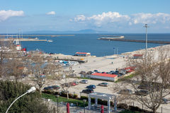 Aerial view of Alexandroupolis. ALEXANDROUPOLIS, GREECE - MAR 31, 2015: Aerial view of Alexandroupolis city port, located in the northest part of Greece Royalty Free Stock Image