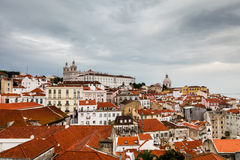 Aerial View on Alfama Quarter of Lisbon Royalty Free Stock Images