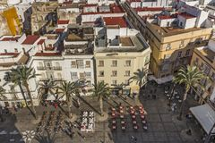 Aerial view of the alfresco dining area at Cadiz Cathedral Plaza royalty free stock photo