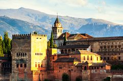 Aerial view of Alhambra Palace in Granada, Spain with Sierra Nevada mountains at the background royalty free stock images