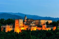 Aerial view of Alhambra Palace in Granada, Spain at sunset royalty free stock photography