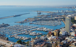 Aerial view of Alicante bay. Alicante, Spain - January 8, 2013: Yachts in the port of Alicante. It's one of the most important ports in Spain for cruises royalty free stock image