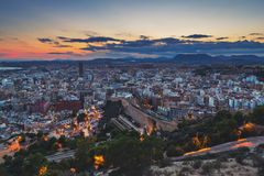 Aerial view of Alicante, Spain at sunset Royalty Free Stock Image