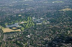Aerial view of All England Lawn Tennis Club, Wimbledon. Aerial view of the Wimbledon district of South London with the famous grounds of the All England Lawn royalty free stock photos