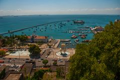 Aerial view of All Saints Bay -Baia de Todos os Santos-in Salvador, Bahia, Brazil. Aerial view of All Saints Bay -Baia de Todos os Santos- in Salvador, Bahia stock photos