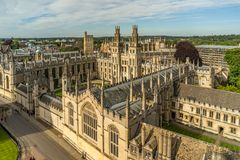 All Souls College Oxford University, Oxford, UK. Aerial view of the All Souls College of Oxford University Royalty Free Stock Photography